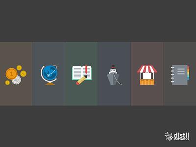 Distil - Icons WIP @2x web flat icon design concept