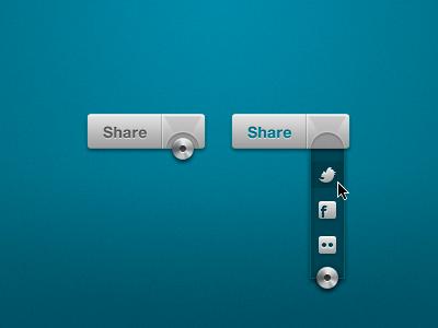 Social Media Share social media share drop-down twitter facebook flickr metal blue grey