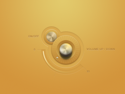 Volume And Power vector user interface orange yellow pastel metal knob button on off up down
