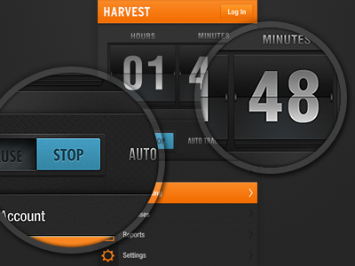 Harvest vector ui ux interface handset android iphone dark black orange grey flip clock time tracking
