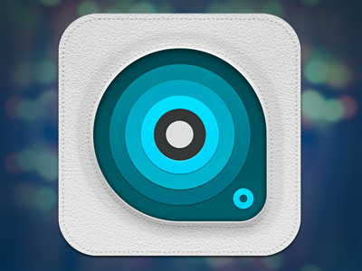 Concentric icon ui ios android apple iphone leather circles rings blue white stitch stitches