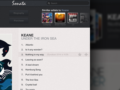 Sonata Music App ui interface music app ios ipad playlist grey blue white audio