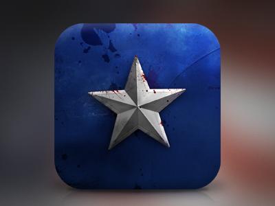 CapAm icon ios texture fabric blood dirt grunge captain america avengers marvel star blue