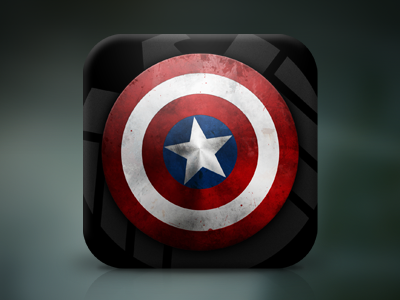 Shield ios icon iphone avengers captain america shield metal texture red white blue