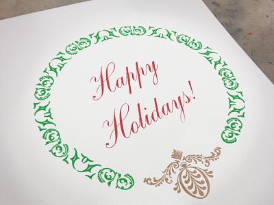 Happy Holidays Notecard greating card printing letterpress