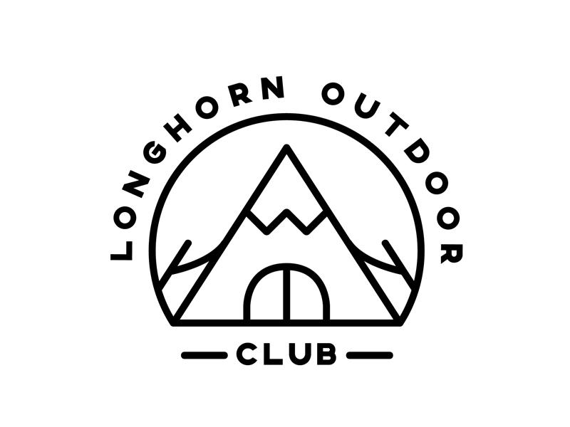Longhorn Outdoor Club logo design black camping line badge outdoors illustration vector clean logo