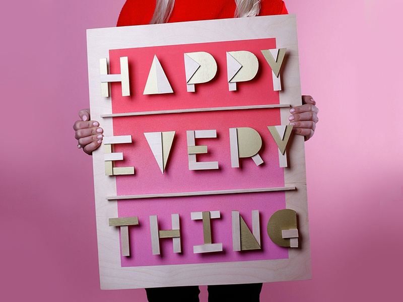 Happy Every Thing 2015 holiday photo studio photography typography handmade wood type sign
