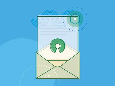 Open Source Letter mail letter envelope brand icons bonsai line art illustration open source