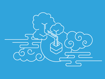 Heroku Bonsai Illustration blue illustration email brand branding logo lineart elasticsearch bonsai heroku line art