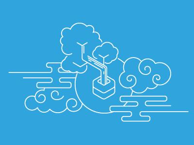 Heroku Bonsai Illustration blue illustration email brand branding logo lineart elasticsearch bonsai heroku line art