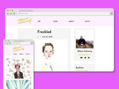 Allizad Site Design gold pink web design css sass branding web responsive design mobile design