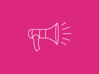 Pink Megaphone announcement icon design line art line icon pink megaphone