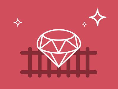 Ruby On Rails illustration programming line icon ruby on rails