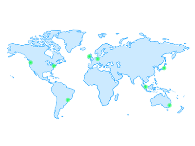 Datacenters World Map world map map world ping uptime datacenters aws