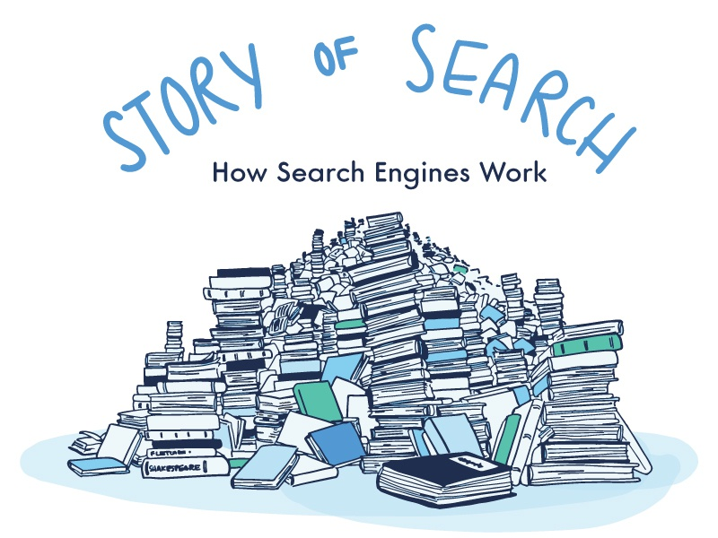 Story of Search search search engine education line art design hand drawn font hand drawn illustration