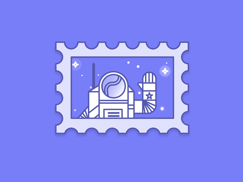 Astronaut Stamp astronaut space line art illustration