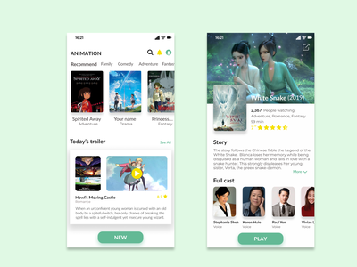 Animation movie app animation typography design app ui