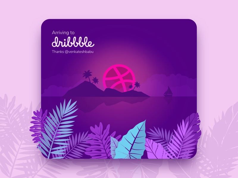 Hello Dribbble! sunset tropical palm trees island welcome user experience design user research wireframing prototyping web design ux illustration user experience ui design ui ux ux design hello dribbble debut shot debutshot debut