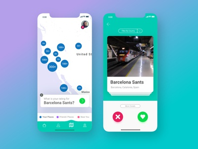 Swipe to rate a place - concept social network app travel place map map ui mobile ios interface design minimal swipe interaction design ux  ui ux design concept ux ui