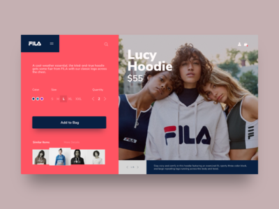 Fila - Lucy Hoodie product page product catalog lookbook trendy trend cta user experience ux ui ux online store shopping ecommerce sweatshirt fila clothing brand clothing clothes fashion