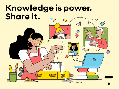 """The Thinkific """"Knowledge is power. Share it."""" challenge man woman characterperez laptop book binding book learning online character creative thinking illustration design cloud based colorful share it thinkific power knowledge"""