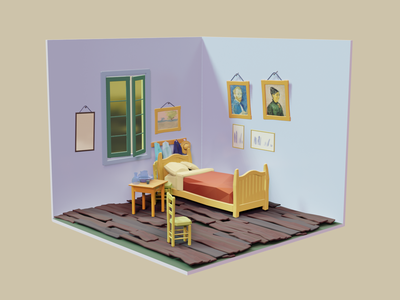 Vincent Van Gogh's Bedroom - Low Poly 3D Illustration 3d illustrations 3d art artist blender3d 3d artist 3d animation blender low poly lowpoly 3d illustration 3d modeling 3d art design illustration