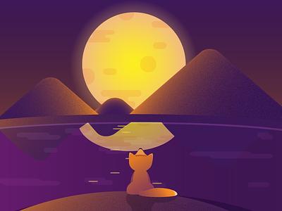 Night fox animal art character cute design romantic night cartoon hills fox illustraion