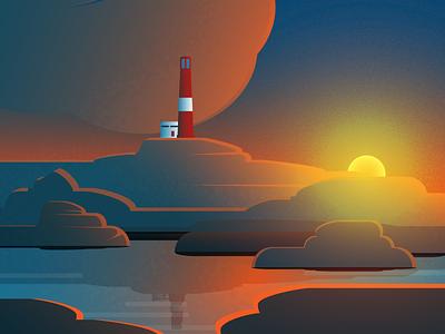 Lighthouse cover landscape flat design romantic cartoon sunset background design lighthouse illustration