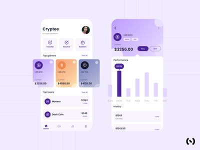 Cryptee-A crypto platform etherum adobexd animation interaction fintech financial app finance app figma crypto app mobile design app design appdesign cryptocurrency crypto uiux ui app ux uxdesign uidesign