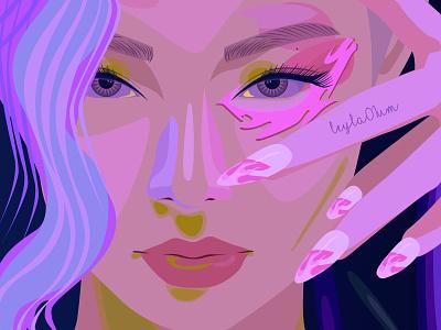 Korean girl icon vector illustration design