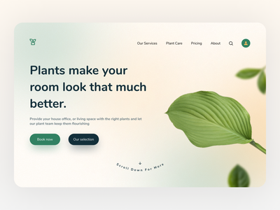 Plant Service Website Header plants header website ui