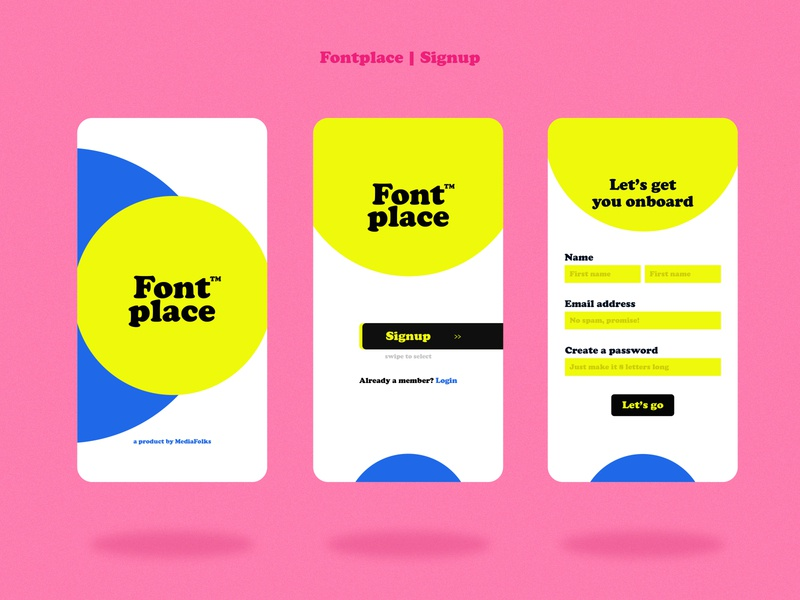 Fontplace UI ux ui mobile ui signup shopping mobile minimal interface illustration grids typography font figma ecommerce concept colour application app design app adobe xd