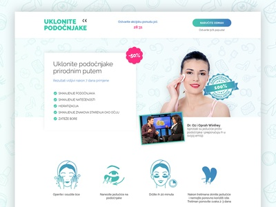 Landing page: Remove eye bags web design web landing nature green website clean eyes health beauty