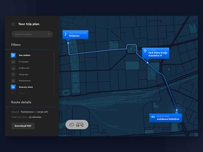 Travel Planner — UI Weekly Challenges S02W03 ui challenge ui uber trip travel planner travel planner maps dark challenge blue