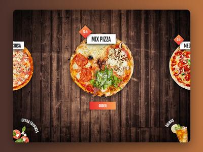 Interactive slider for simple ordering order food menu smart table drinks food restaurant order pizza
