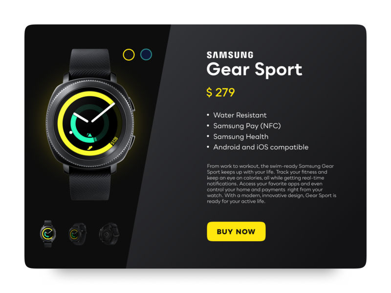 Sports Gear Shopping UI - Black design black ui  ux design web designers smartwatch sport webshop ui challenge ui