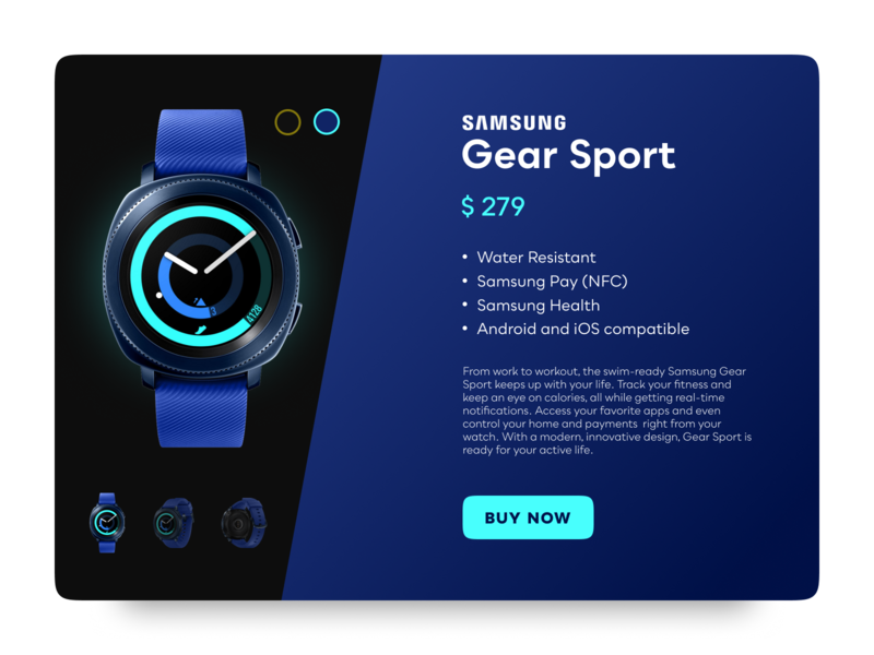 Sports Gear Shopping UI - Blue illustration ui challenge blue webshop ui ux design ui sport smartwatch design