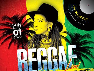 Reggae Live Concert Flyer music band electro techno modern minimalist minimal designer amabledesign concert reggae print template flyers graphic design graphic design