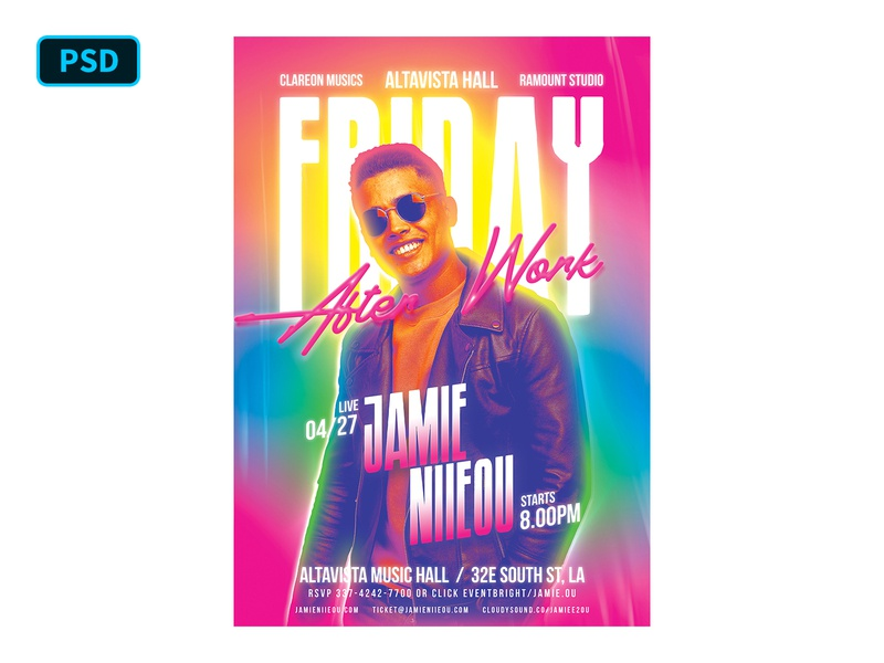 Party Flyer Template - After Work Friday psd flyer colorful gradient neon club flyer dj concert flyer dj flyer party flyer party poster template flyer template graphicriver