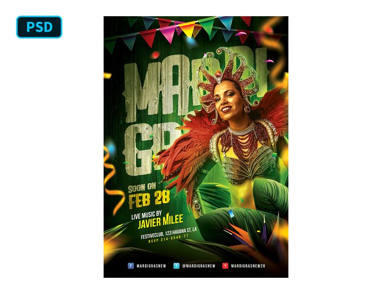 Mardi Gras Carnival Flyer Template carnival flyer holiday party flyer psd flyer template brazil latin festival carnival fat tuesday mardi gras creative market