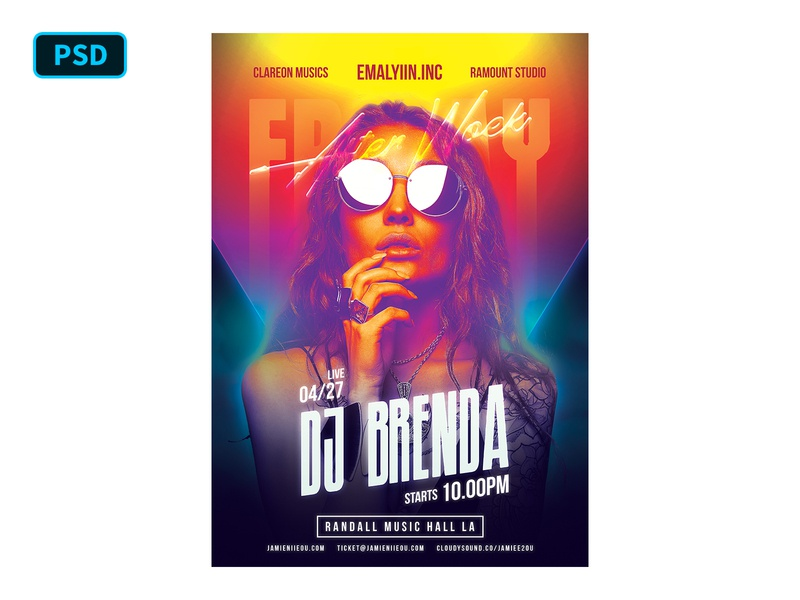 DJ Flyer Template Friday Party dj flyer futuristic gradient neon night party club dj photoshop flyer psd flyer template graphicriver