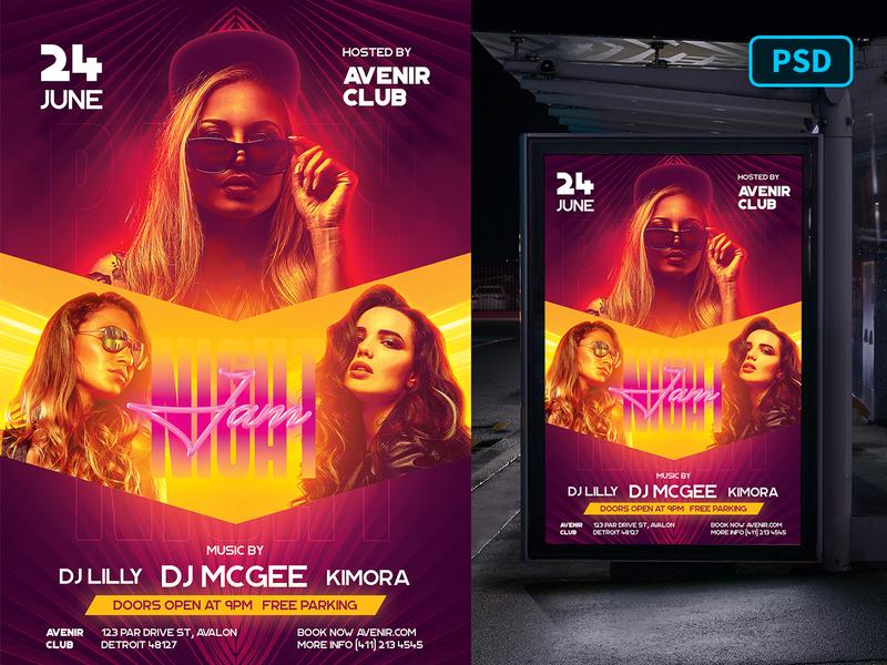 Club DJ Flyer Template PSD neon edm techno music nightclub club dj dj flyer club flyer flyer template flyer psd graphicriver