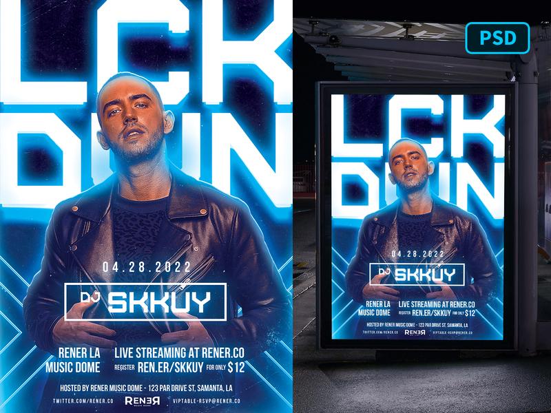 DJ Flyer Template Night Echo nightclub party edm electro techno flyer psd flyer template psd photoshop psd dj flyer party flyer flyer template dj