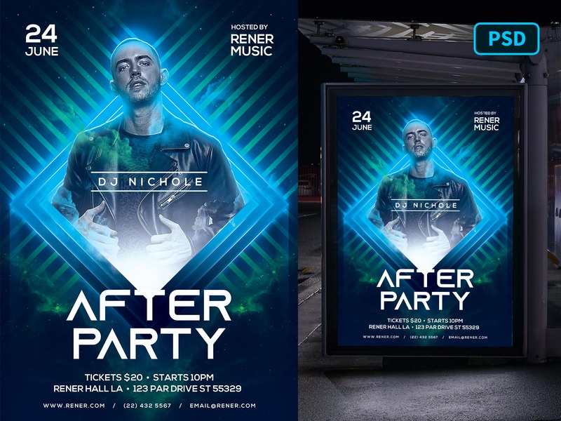 DJ Flyer Template - After Party night club techno nightclub nightclub flyer party flyer dj party flyer dj concert flyer dj flyer dj flyer psd flyer template graphicriver