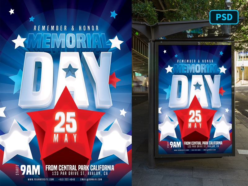Memorial Day Flyer Template 4th of july independence day flyer independence day american flag memorial day flyer memorial day america united states creative market flyer photoshop flyer template