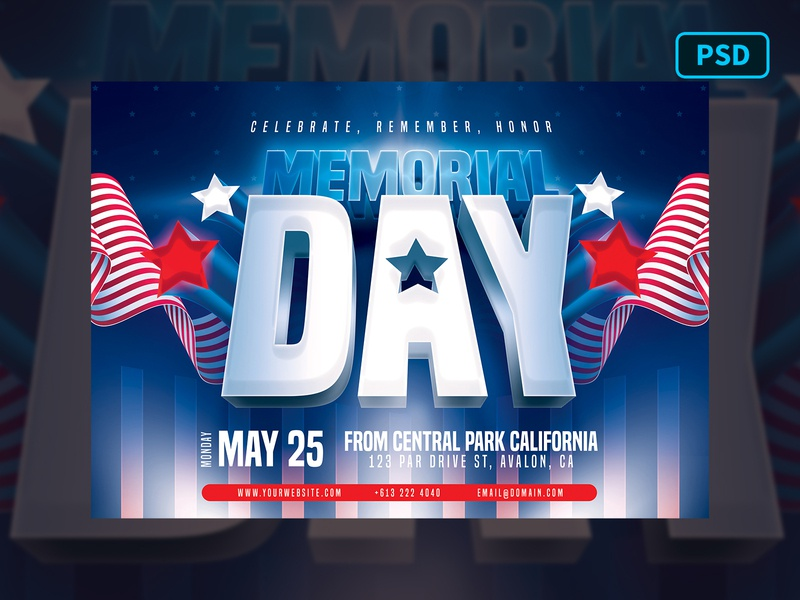 Memorial Day Flyer Template PSD flyer template template flyer 4th of july independence day memorial day american america united states national day memorial