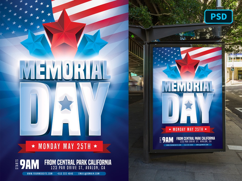 Memorial Day Flyer Template 4th of july independence day memorial day america united states psd template poster flyer poster template photoshop flyer template