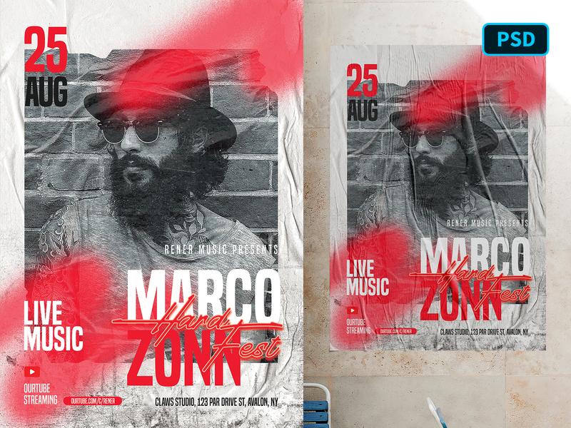 Artist Flyer Template Photoshop hip-hop concert event music urban artist poster flyer poster template graphicriver photoshop flyer template