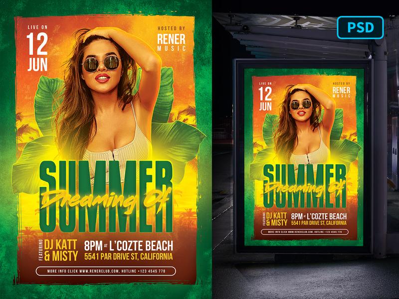 Tropical Summer Flyer Template summer party tropical summer tropical summer club template creative market party poster flyer poster template flyer template