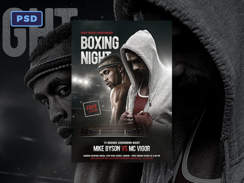 boxing flyer template by mohamad borneafandri abulga dribbble